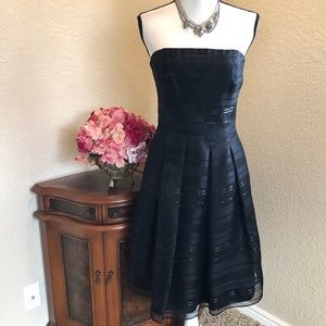 WHBM Sheer Overlay Strapless Dress